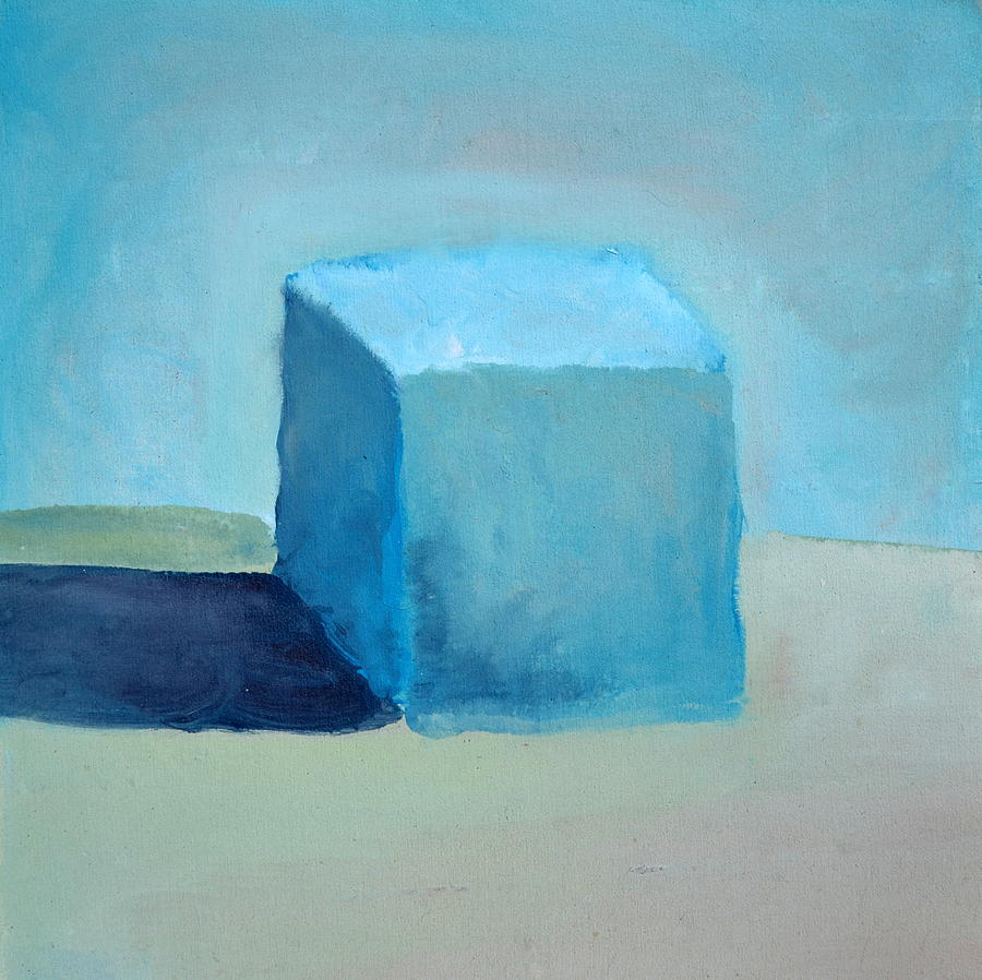 Blue Cube Still Life Painting  - Blue Cube Still Life Fine Art Print