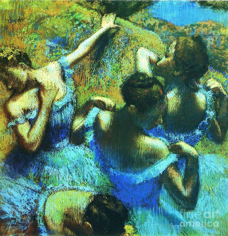 Blue Dancers Painting  - Blue Dancers Fine Art Print
