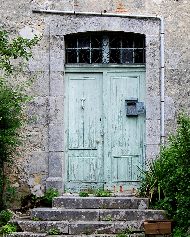 Blue Door In Vianne France Photograph
