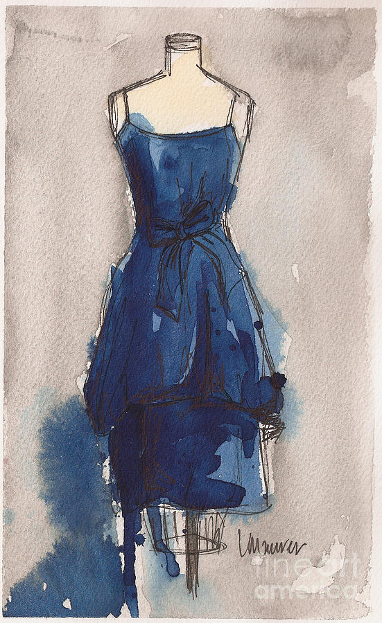 Blue Dress II Painting  - Blue Dress II Fine Art Print