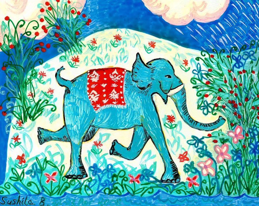 Blue Elephant Facing Right Painting
