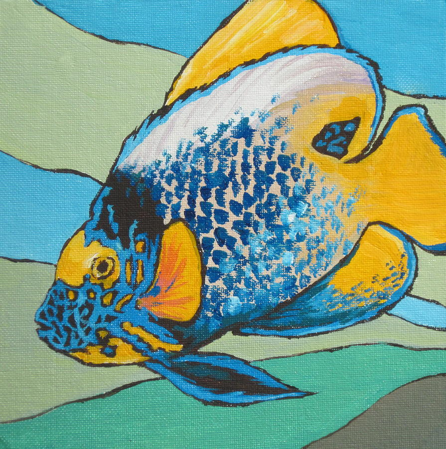 Blue Face Angelfish Painting  - Blue Face Angelfish Fine Art Print