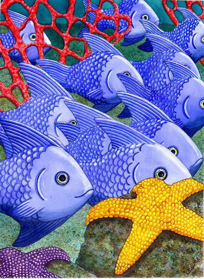 Blue Fish Painting  - Blue Fish Fine Art Print