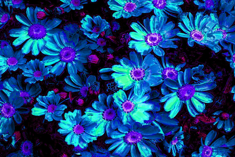 Blue Flower Arrangement Digital Art  - Blue Flower Arrangement Fine Art Print