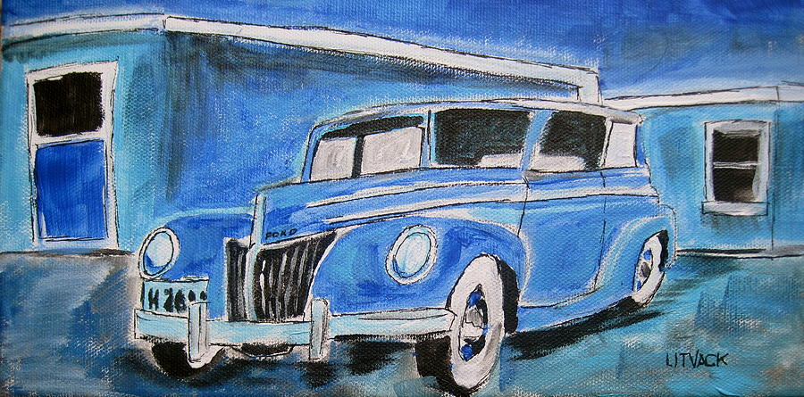 Blue Ford Convertible Painting