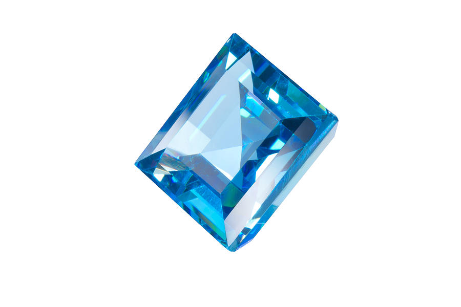 Blue Gem Isolated Jewelry  - Blue Gem Isolated Fine Art Print