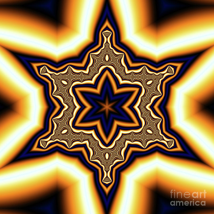 Blue Gold Star Digital Art  - Blue Gold Star Fine Art Print