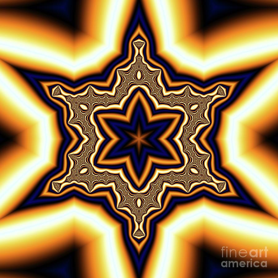 Blue Gold Star Digital Art