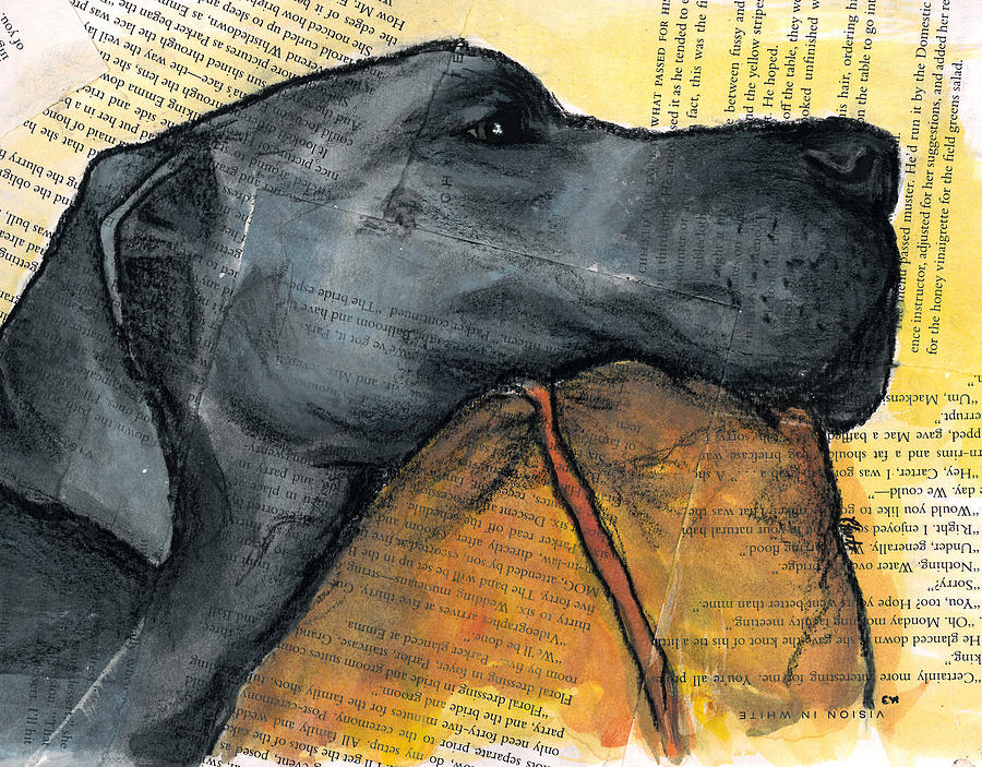 Blue Great Dane On Pillow Painting
