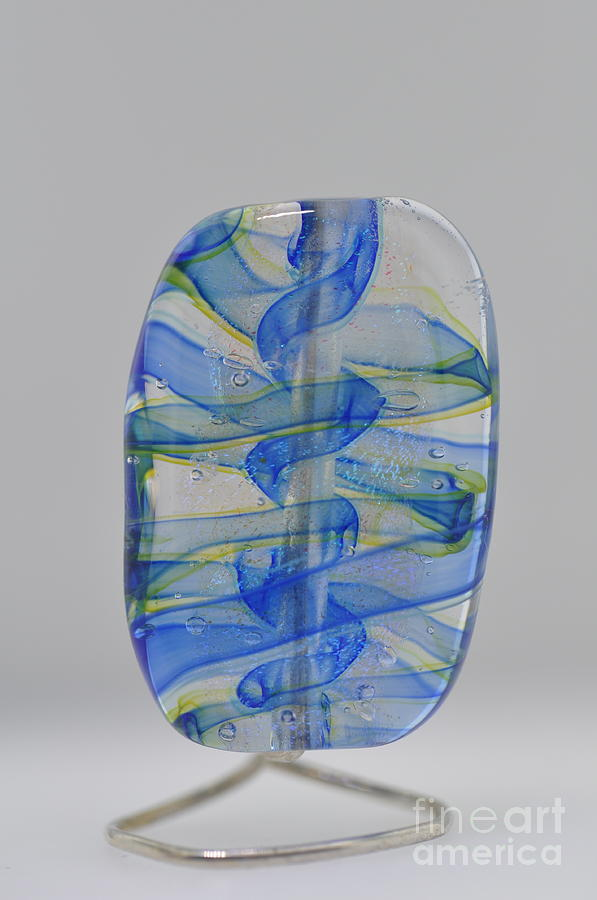Glass Glass Art - Blue/green Ribbons by Gail Joseph