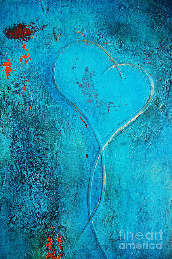 Blue Heart Abstract Painting  - Blue Heart Abstract Fine Art Print
