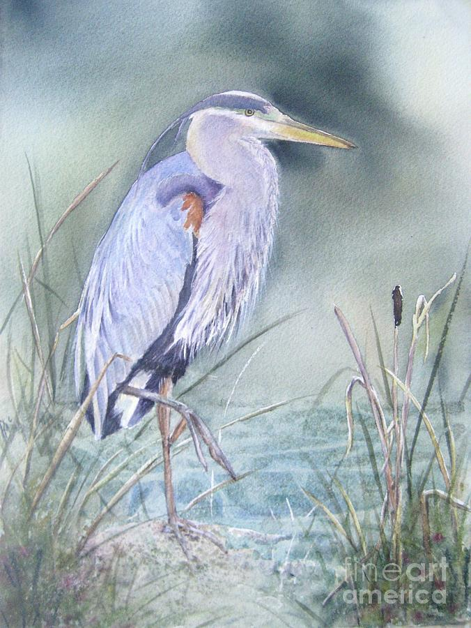 Blue Heron At Pepperdine Painting  - Blue Heron At Pepperdine Fine Art Print