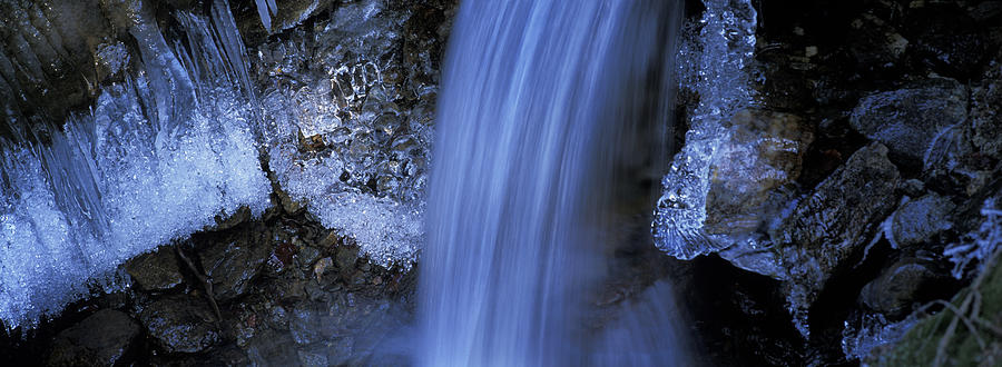 Blue Icy Waterfall Photograph