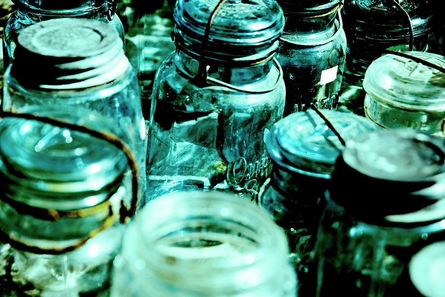 Blue Antique Jars Photograph - Blue Jars I by Laurianna Murray