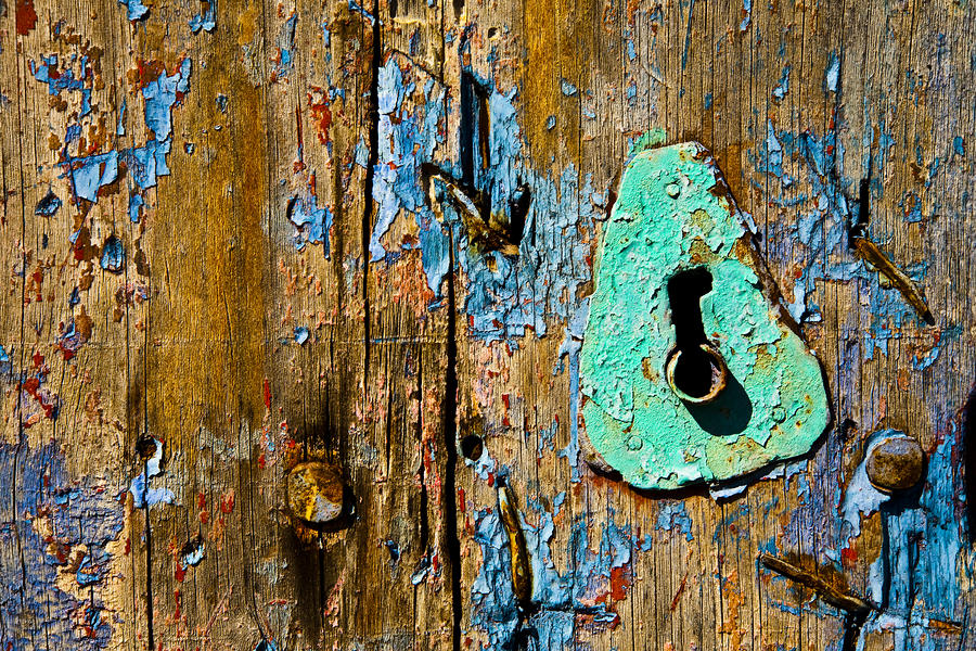Wood Photograph - Blue Keyhole by Mark Weaver