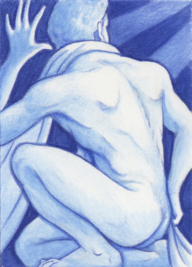 Blue Man Study Drawing  - Blue Man Study Fine Art Print