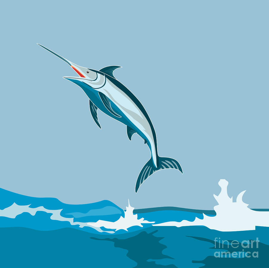 Blue Marlin  Digital Art  - Blue Marlin  Fine Art Print