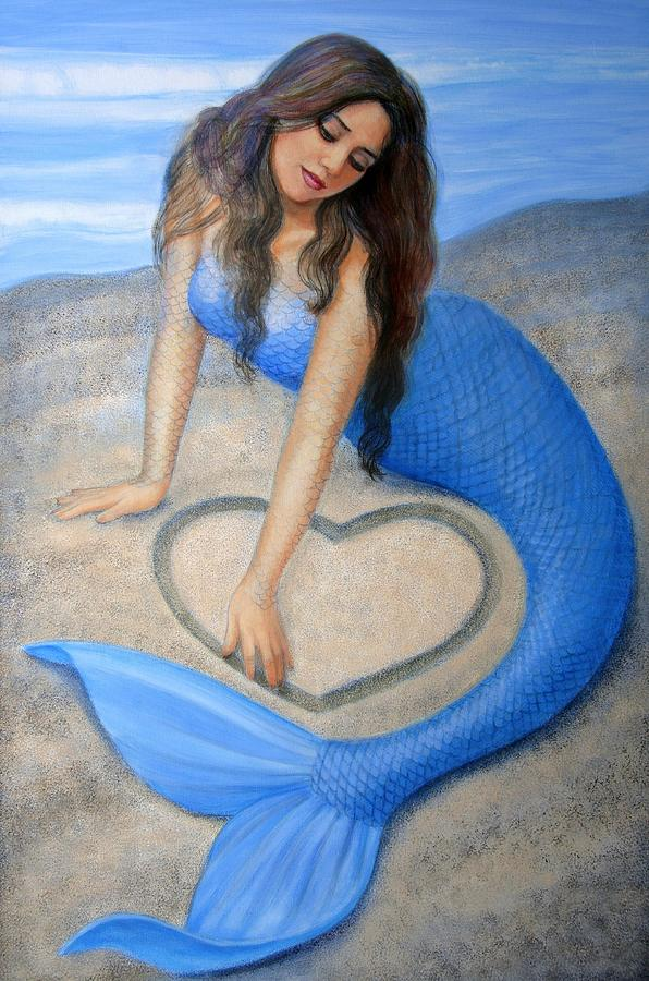 Blue Mermaids Heart Painting  - Blue Mermaids Heart Fine Art Print