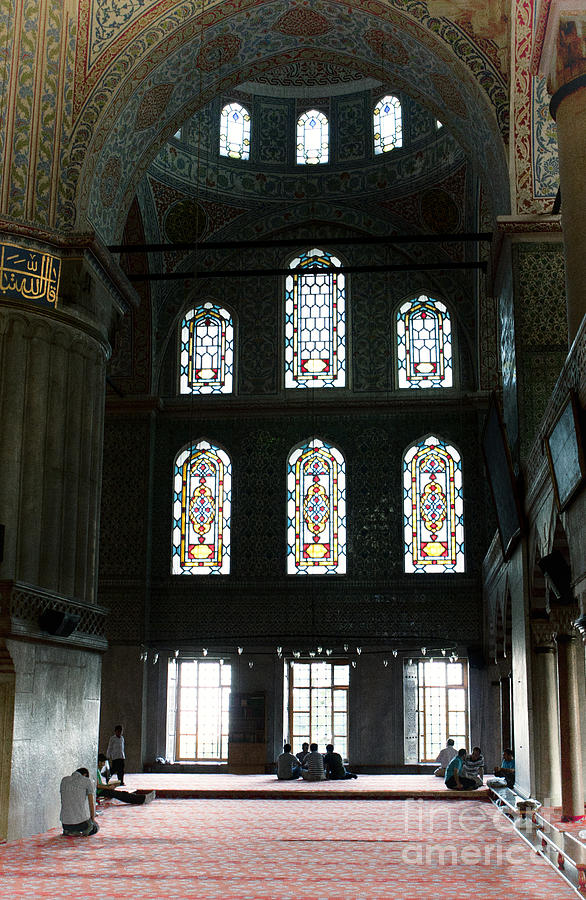 Blue Mosque Prayers Photograph