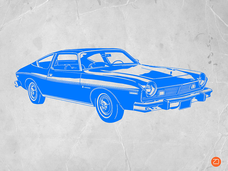 Blue Muscle Car Drawing