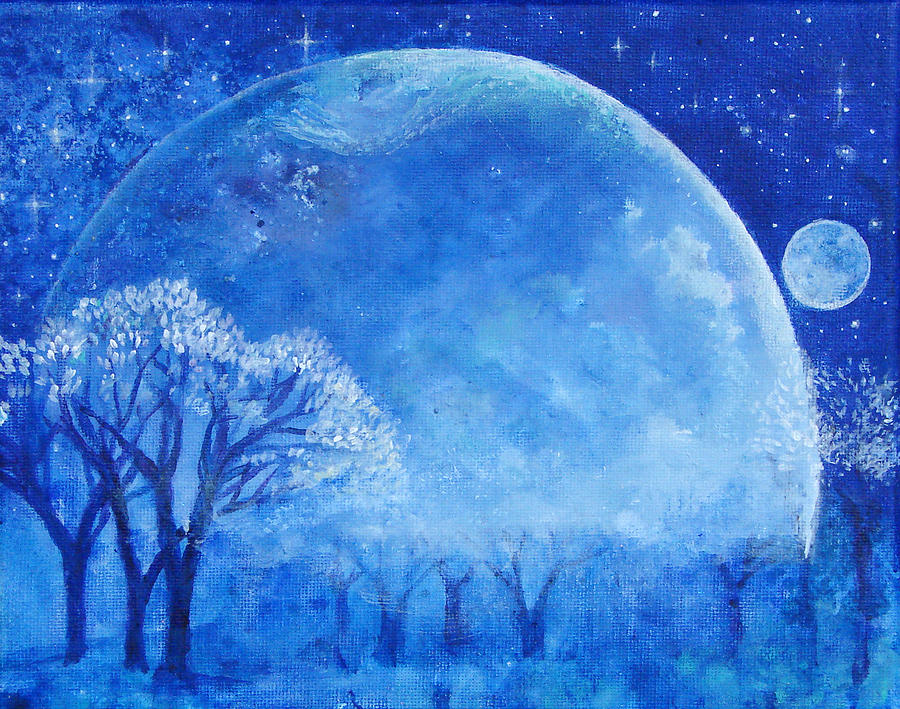 Blue Night Moon Painting  - Blue Night Moon Fine Art Print