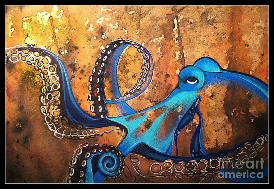 Blue Octopus Mixed Media  - Blue Octopus Fine Art Print