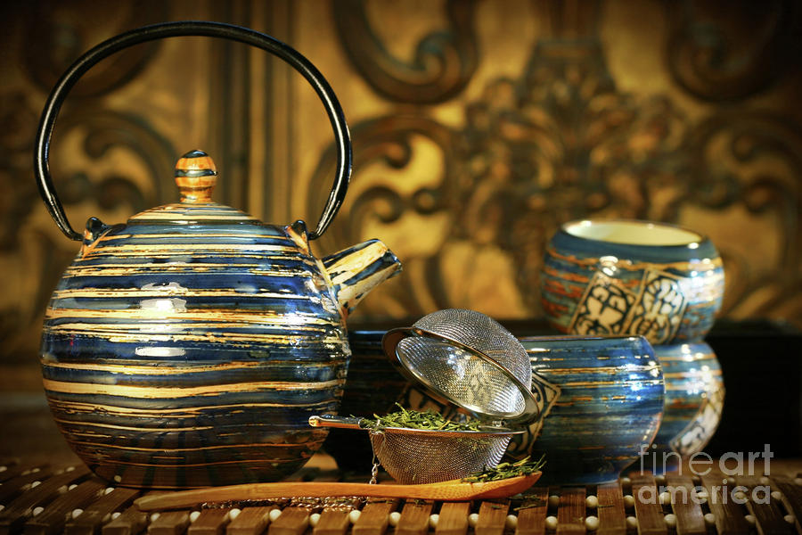 Blue Oriental Teapot With Cups  Photograph