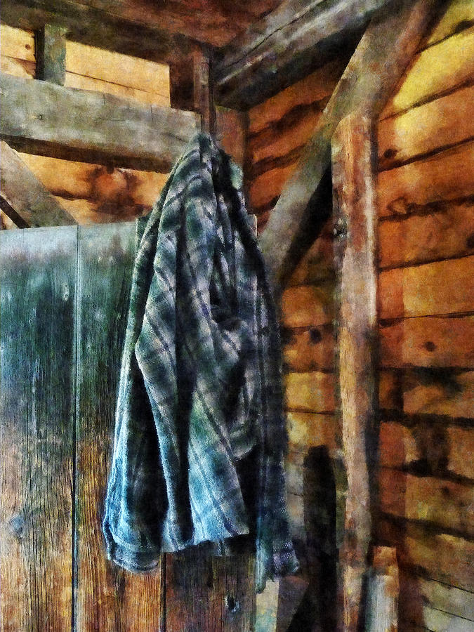 Blue Plaid Jacket In Cabin Photograph