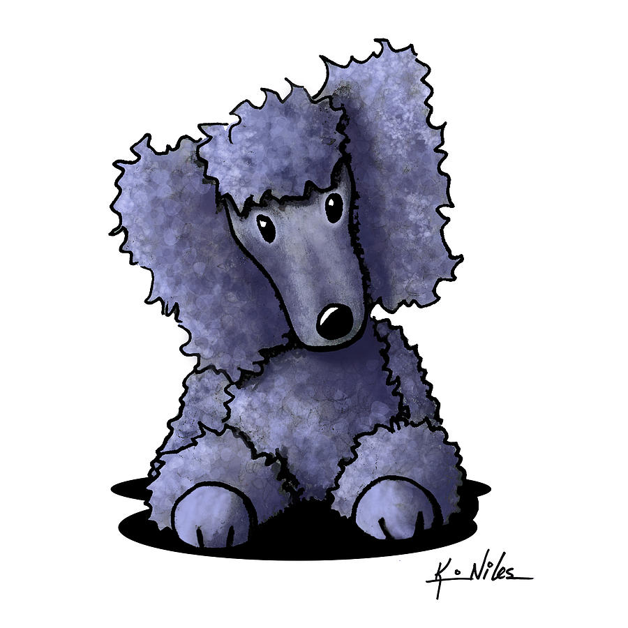 Blue Poodle Drawing  - Blue Poodle Fine Art Print