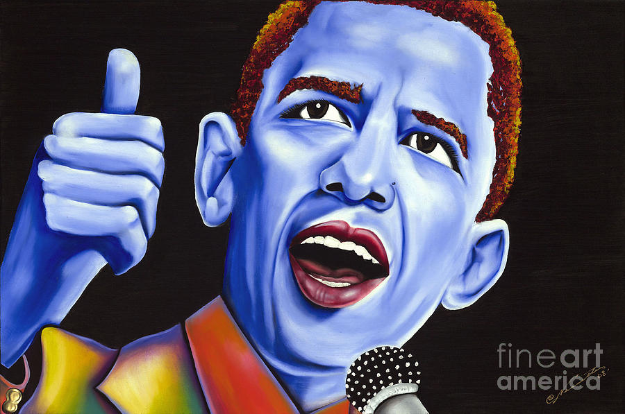 Blue Pop President Barack Obama Painting