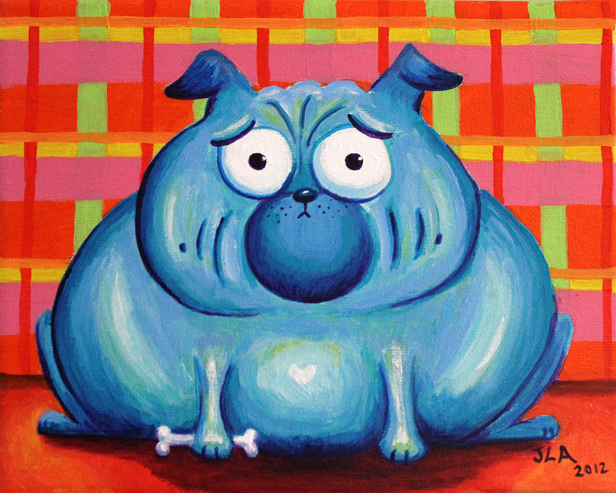Blue Pudgy Pug Painting  - Blue Pudgy Pug Fine Art Print