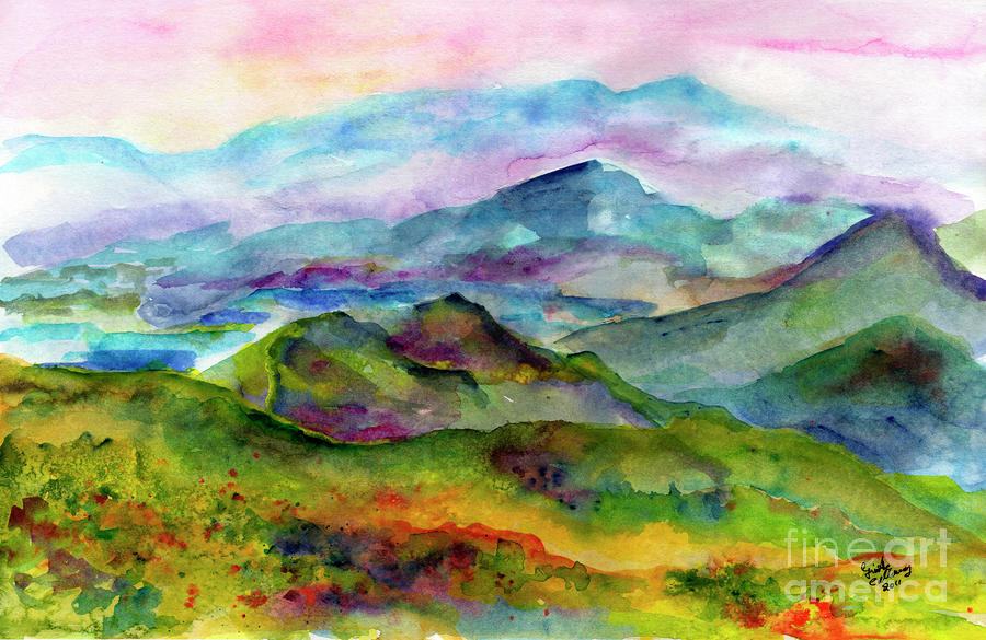 Blue Ridge Mountains Georgia Landscape  Watercolor  Painting