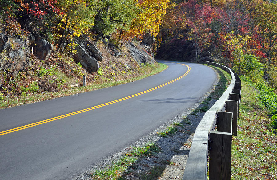 Blue Ridge Parkway Autumn Road Photograph  - Blue Ridge Parkway Autumn Road Fine Art Print