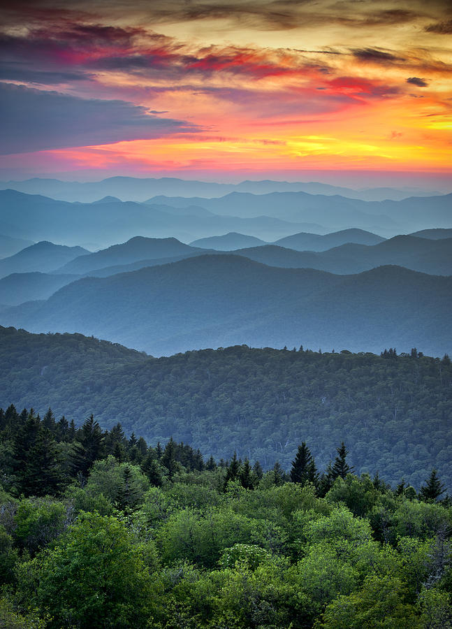 Blue Ridge Parkway Sunset - The Great Blue Yonder Photograph  - Blue Ridge Parkway Sunset - The Great Blue Yonder Fine Art Print