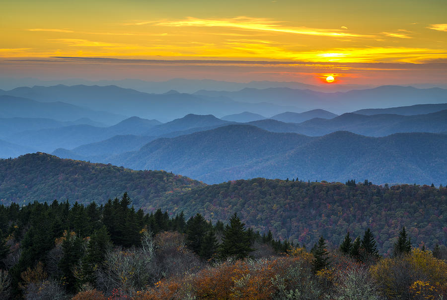 Blue Ridge Parkway Sunset - For The Love Of Autumn Photograph