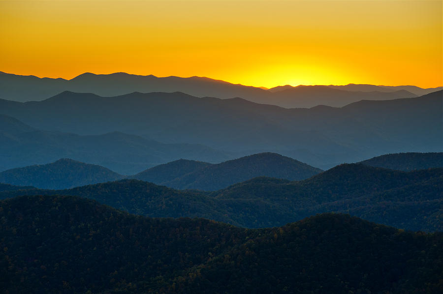 Blue Ridge Parkway Sunset Nc - Afterglow Photograph