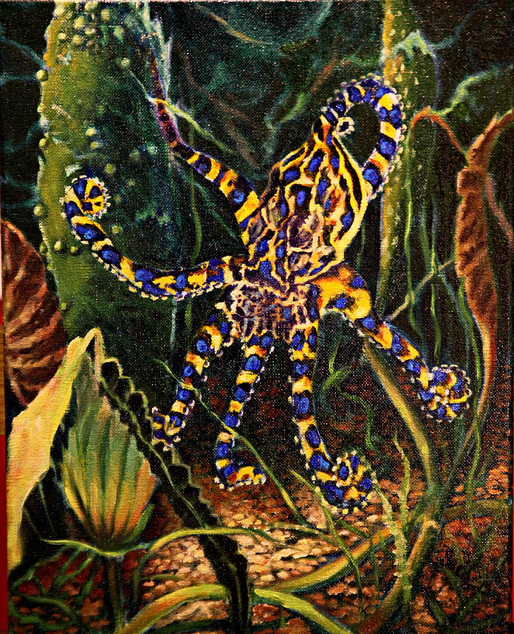 Blue Ring Octopus Painting by Patricia Reed
