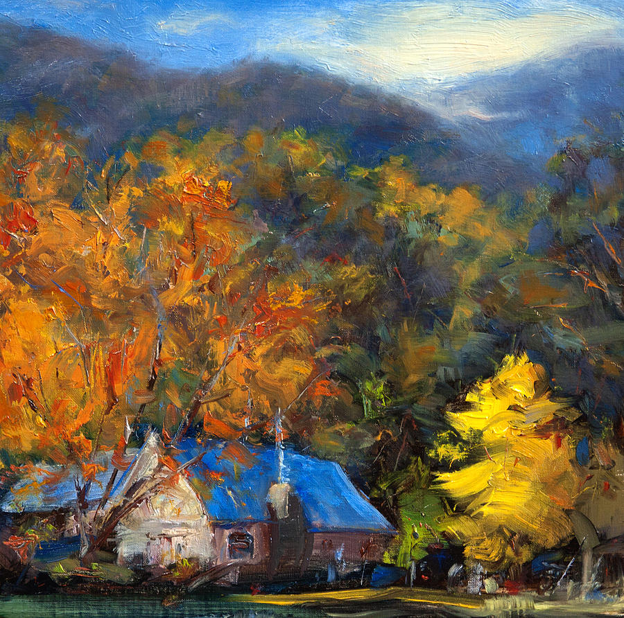 Blue Roof And Yellow And Orange Trees Painting By James