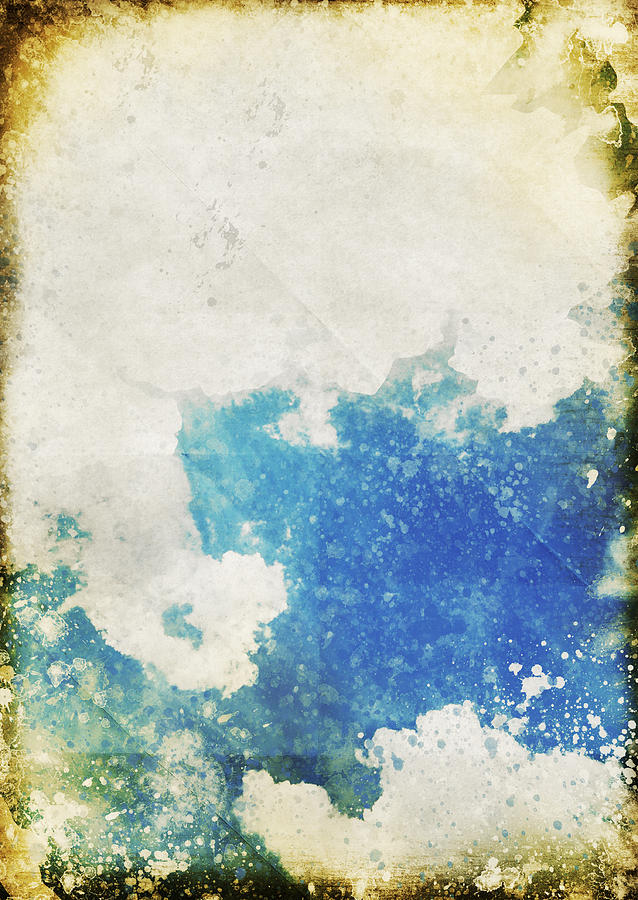 Blue Sky And Cloud On Old Grunge Paper Photograph