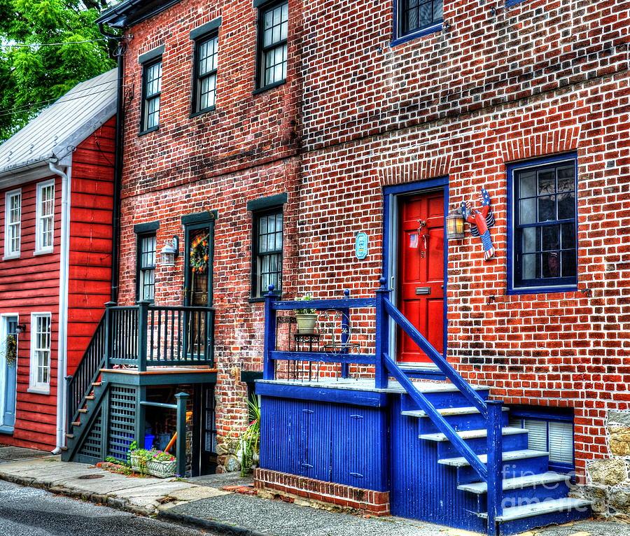 Townhouse Photograph - Blue Steps by Debbi Granruth
