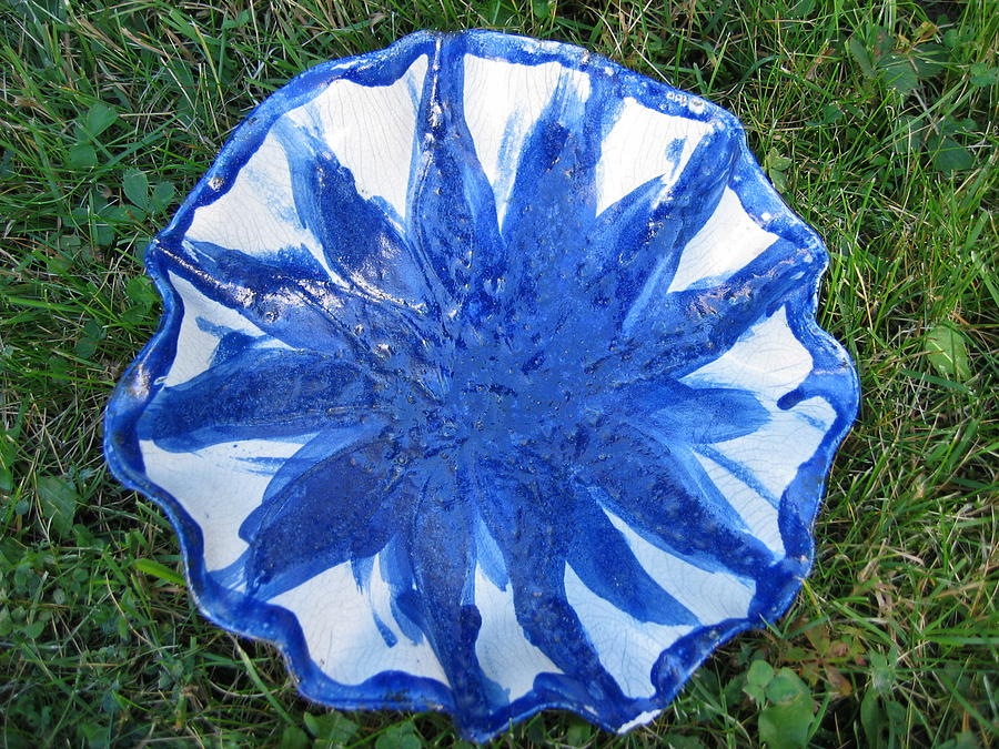 Blue Sunflower Vessel Ceramic Art  - Blue Sunflower Vessel Fine Art Print