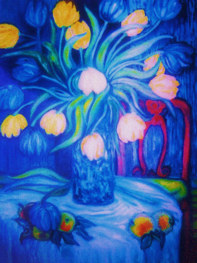 Blue Tulips      Art Deco Painting  - Blue Tulips      Art Deco Fine Art Print