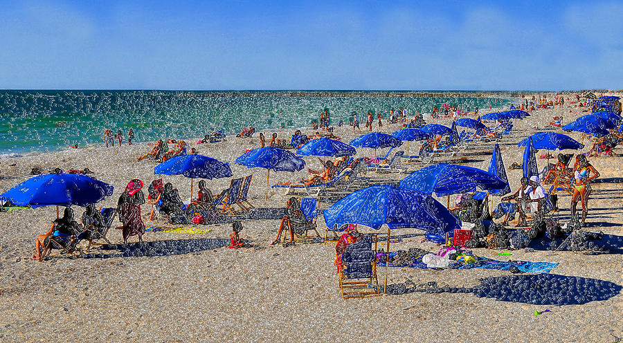 Blue Umbrella  Beach Painting  - Blue Umbrella  Beach Fine Art Print