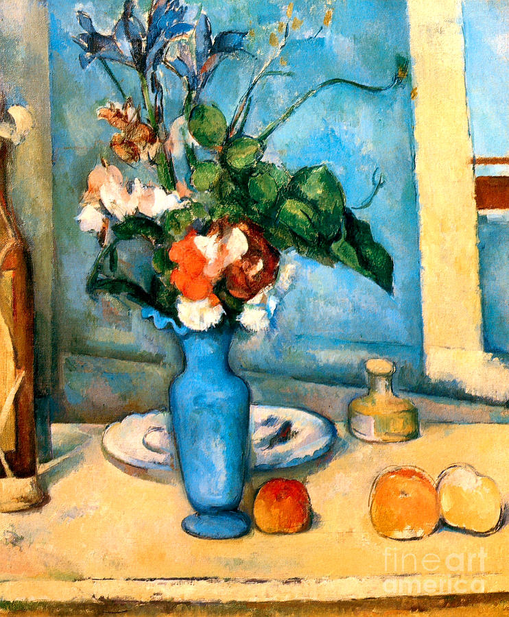 Blue Vase By Paul Cezanne Painting