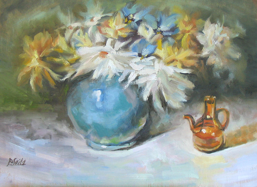 Floral Painting - Blue Vase by Patricia Seitz