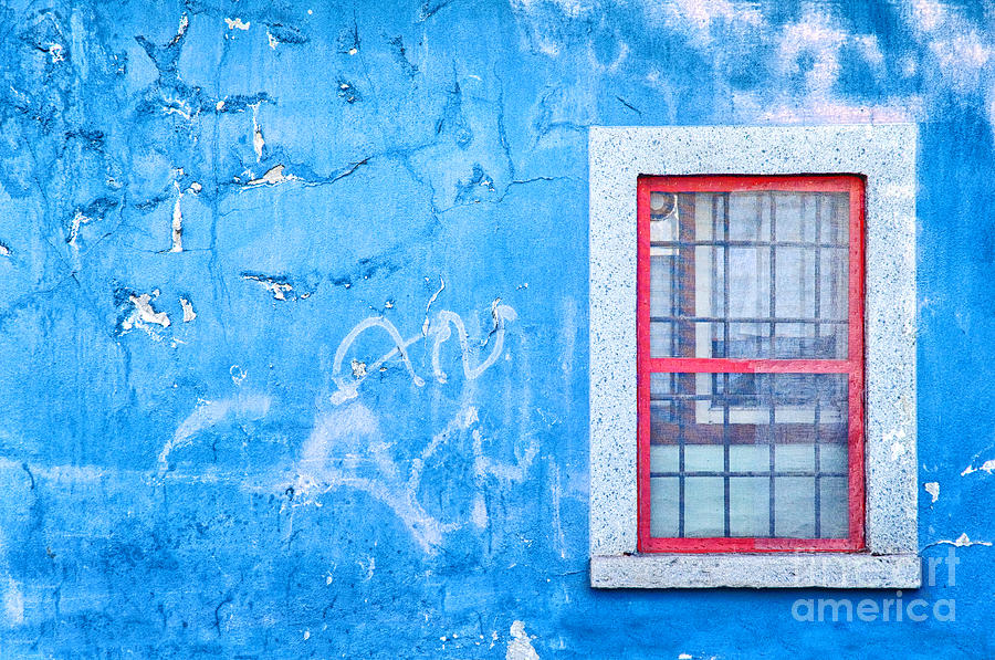 Blue Wall And Window With Red Frame Photograph