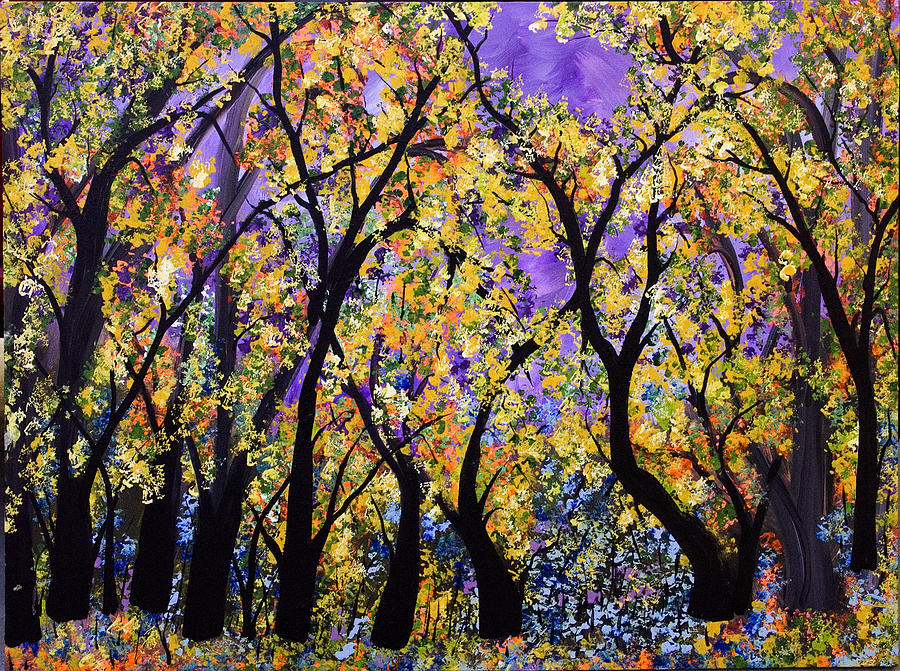 Blue Wildflowers  Golden Leaves Painting