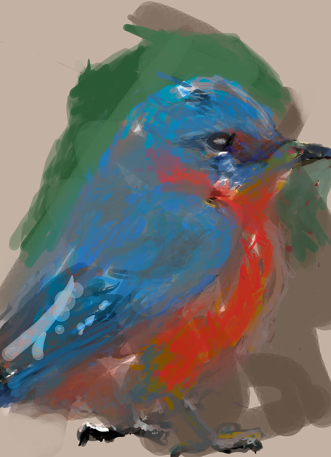 Bluebird Digital Art  - Bluebird Fine Art Print