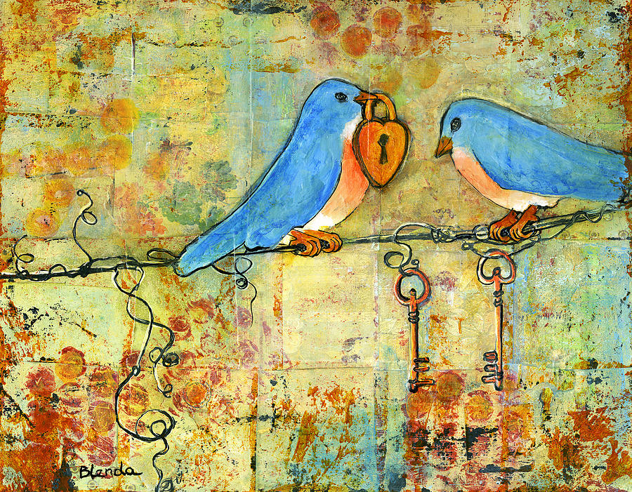 Bluebird Painting - Art Key To My Heart Painting  - Bluebird Painting - Art Key To My Heart Fine Art Print