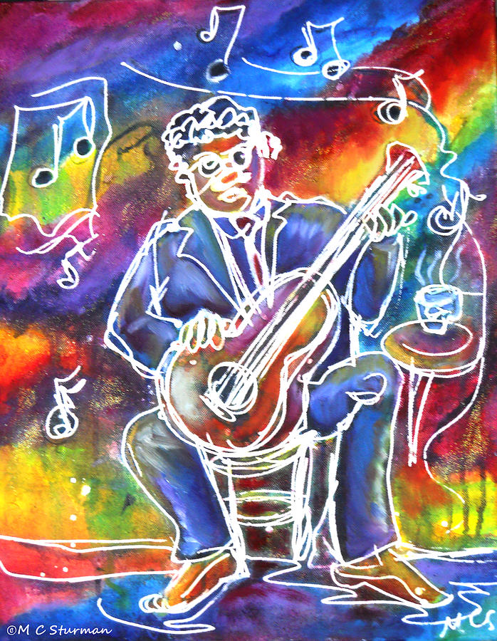 Blues Man Mixed Media  - Blues Man Fine Art Print